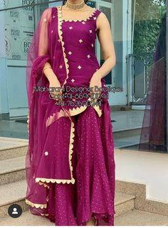 Pakistani Party Wear Dresses, Designer Party Wear Dresses, Punjabi Dress, Punjabi Suits Designer Boutique, Indian Designer Suits, Boutique Suits, Sharara Designs, Kurti Designs Party Wear, Dress Indian Style