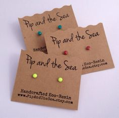 Itty bitty neon yellow ecoresin studs on by PipandtheSea on Etsy