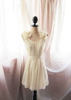 Soft Misty Nostalgia Dreamy Cream Ivory Romantic Havisham Mille Feuille Petal Chiffon Bubble Hem Dress