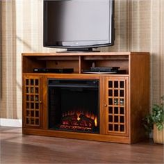 Narita Electric Fireplace TV Stand in Glazed Pine