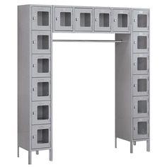 Salsbury Industries 12 Inch Wide Six Tier Box Style Bridge See-Through Metal Locker - 16 Box - 18 Inches Deep - Gray - Unassembled Home Lockers, Metal Lockers, Locker Designs, Convertible Furniture, Grey Doors, Steel Locker, Lounge Areas, Panel Doors, See Through