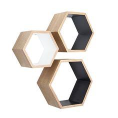 Ash Wood Nesting Hexagon Shelves - Set of 3 from the Get Lucky Collection | dotandbo.com