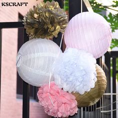 30pcs Chic Tissue Hanging Paper Multi Usage Spherical Heads Light Pink 15cm Zauberartikel & -tricks