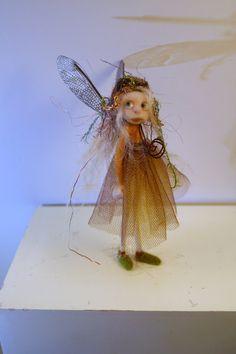 ooak poseable  sweet little THREAD PIXIE w/ acorn hat ( #4 ) pixie elf polymer clay art doll by DinkyDarlings by DinkyDarlings on Etsy