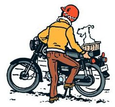 tintinylospicaros • Tintin in jeans and Snowy getting off a motor bike • Herge, Tintin et moi: