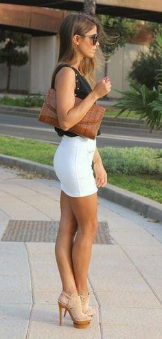 short skirt, great legs