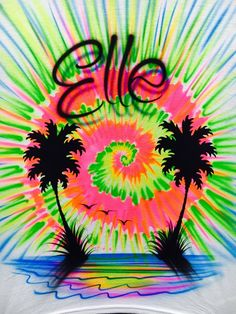 Airbrush Tye Dye Sunset T-shirt, Airbrush sunset tshirt, Airbrush tshirt, Beach T-shirt, Palm Tree T Airbrush Designs, Airbrush Art, Airbrush Shirts, Crafts For 2 Year Olds, Art Trading Cards, Picture Frame Art, Paint Shirts, Graffiti Art, Graffiti Alphabet