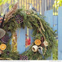 Bird-feeding wreath: Decorate your garden for the season and welcome birds! Bird Seed Ornaments, Garden Gates, Wild Birds, Bird Houses, Grapevine Wreath, Bird Feeders, Grape Vines, Garden Design, Christmas Wreaths