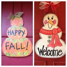 Reversible Pumpkin/Snowman Door Hanger by JustPlainADoorAble, $68.00