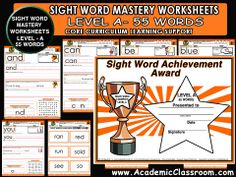SIGHT WORD LEVEL- A, WORKBOOK INCLUDES: * 55 Practice Pages: Sight Word Mastery Worksheets Level A * 55 Flash Cards * 1 Sight Word Award Certificate  WORDS (* a * all * am * and * away * be * big * blue * but * can * come * did * down *find * for * funny * go * good * he * help * here * I * in * is * it * like * little * look * make * me *my * no * not * on * one * play * ran * red * run * said * see * so * that * the * three * to * two * up * was * we * what * where * yellow * yes * you).