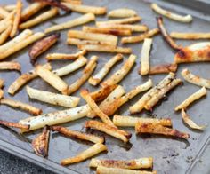 These french fries are actually made with a root vegetable called jicama, so they're low calorie and low carb! #paleo