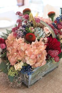 burgundy and peach flower box @Kathryn Whiteside Whiteside Whiteside Davis