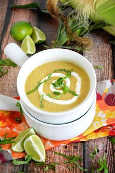 {30 Minute} Creamless Corn Soup with Lime Crema and Basil | #glutenfree #healthy #soup