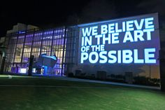 The event's theme—the Art of the Possible—was projected on the venue's façade. Photo: World Red Eye