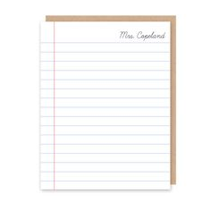 Notebook Teacher Stationery (Note Card) - Classic notebook paper with script font makes this personalized/custom stationery the perfect gift for any teacher or school staff member with their name or monogram.