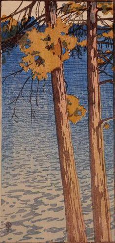 """Dying Pines"", 1917, woodcut by Walter J. Phillips (1884-1963). Tags: Linocut, Cut, Print, Linoleum, Lino, Carving, Block, Woodcut, Helen Elstone, Trees, Water, Ripples, Bark, Canada."