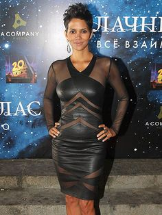 From Russia with love: Halle Berry looked sexy in a black leather and semi-sheer dress at the Moscow premiere of her new film Cloud Atlas on Thursday Halle Berry Style, Halle Berry Hot, Black Is Beautiful, Beautiful Women, Halley Berry, Bond Girls, Her Style, Nice Dresses, Hollywood