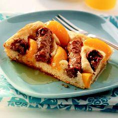 peaches and sausage pancakes