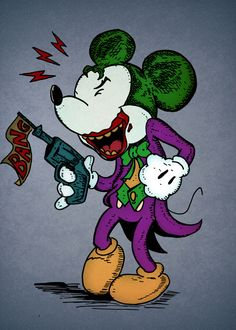 Funny Joker illustrated as Mickey made by Eric Wirjanata Dark Disney, Disney Art, Arte Do Mickey Mouse, Harry Potter Disney, Comic Art, Comic Books, Twisted Disney, Im Batman, Joker And Harley Quinn