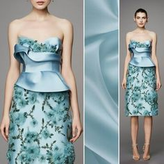 Possibilities never end when it comes to satin faced organza! Create a full skirt or shape an interesting bodice like this one by Marchesa! What's your favorite way to use it? Find this morning mist with item #PV4000-143.  #fabric #fabricshopping #moodfabrics #mood #fashion #instafashion #lovetosew #sewing #fashiondesign #fall #autumn #winter #inspiration #trends #colorful #color #colors #highfashion #eveningwear #formal #gown #luxury #garmentdistrict #designer #runway #marchesa #style