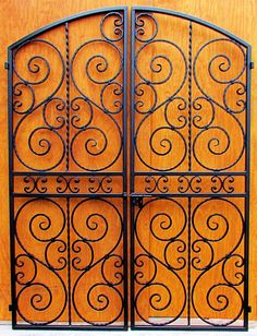 Iron Wine Cellar Double Door or Gate - The Scalloped Scroll Double - Built to fit 60 inch wide by 80 Wrought Iron Decor, Wrought Iron Gates, Iron Windows, Iron Doors, Porch Gate, Metal Gates, Iron Furniture, Gate Design, Door Design