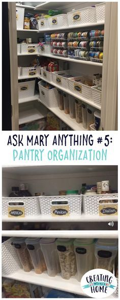 ASK MARY ANYTHING 5 PANTRY ORGANIZATION is part of Kitchen Closet Organization - One reader asked to see my pantry, so here it is! If you want to ask any questions, about home or organizing or life, comment below! Kitchen Organization Pantry, Pantry Storage, Kitchen Pantry, Closet Organization, Kitchen Storage, Organization Ideas, Pantry Ideas, Organized Kitchen, Storage Ideas