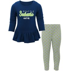 Girls Toddler Seattle Seahawks College Navy/Heathered Gray Tiny Trainer Long Sleeve Shirt and Pant Set