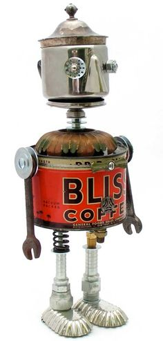"""""""Mister Blisster""""   Height: 17""""   Principal Components: Coffee can, cream pitcher, sugar bowl lid, wrenches, lamp part, tartlet tins, hose fittings, button"""