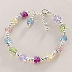 Pretty multi-coloured butterflies bracelet by www.jewels4girls.net