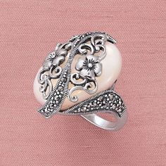 Sterling Mother of Pearl,Marcasite Floral Ring