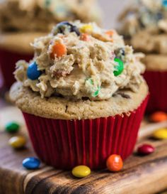 Monster Cookie Dough Cupcakes - cookie dough, monster, m