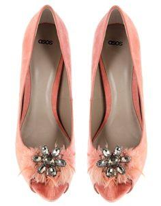 ASOS PRIMROSE Feather Jewel Peep Toe Court Shoes
