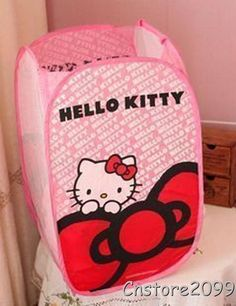 Lovely New Folding Hello Kitty Dirty Clothes Laundry Basket Storage Bag Box Case