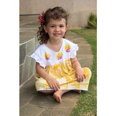 Girl Hawaiian Dress (110 ILS) ❤ liked on Polyvore featuring integritytt and etsyspecialt