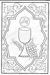 First Communion Cards, Première Communion, First Holy Communion, Christian Symbols, Wood Burning Patterns, Church Banners, Religious Images, Parchment Craft, Catholic Art