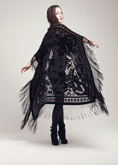Velvet Fringe Kimono  Black Rose Maxi by shevamps on Etsy, £129.00