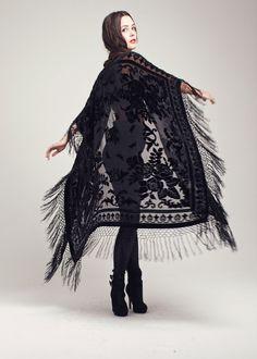 Velvet Fringe Kimono - Black Rose Maxi
