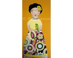 Impresión de mi mixta arte popular pintura por StudioDudaArt