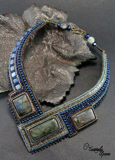 """Купить Колье """"Натали"""" - синий, натуральные камни, вышитое колье, вышитые…"""