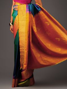 Orange-Green Kanchipuram Silk Saree - Buy Sarees > Woven Sarees > Orange-Green Kanchipuram Silk Saree Online at Jaypore.com