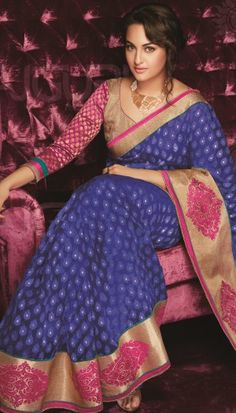 royal blue banarsi net embroidered saree with unstitch blouse