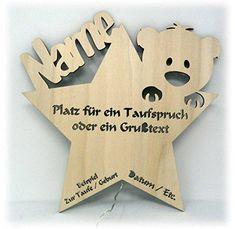 Schlummerlicht24 Led Nachtlicht Baby-Lampe Teddy Stern Baby-Geschenke zur Taufe mit Namen Tauf-spruch Gravur personalisiert Geburt-sgeschenke Taufgeschenke für Junge-n Mädchen Paten-Kind Mutter Zimmer