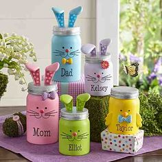 You'll be amazed how quickly these adorable little figurines will put everyone in the Easter spirit! Easter gifts Little Bunny Family Figurines Mason Jar Projects, Mason Jar Crafts, Mason Jar Diy, Kids Crafts, Easter Crafts, Diy And Crafts, July Crafts, Spring Crafts, Holiday Crafts