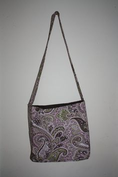 Paisley Pink/Brown Over the Body Bag   #handmade #bag #purse #sewing