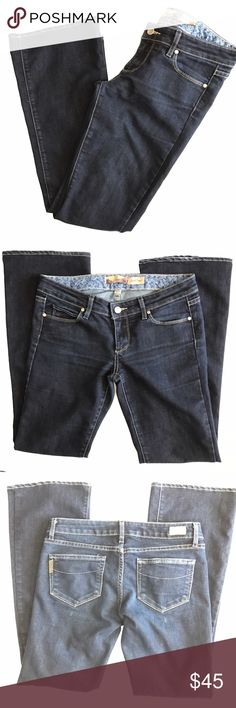 "Paige Laurel Canyon jeans. Bootcut Laurel Canyon jeans. Size 27. Waist measures 15.5"" flat across. Inseam 29.5"". Made in USA 🇺🇸. Dark wash. Excellent used condition. Sorry, no trades & I am unable to model. Paige Jeans Jeans"
