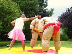 I have no idea why the guy is in a tutu, but I've always thought this kind of sumo wrestling would be hilarious and fun