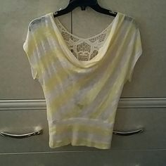 Shirt Backed laced white and yellow shirt HeartSoul Tops