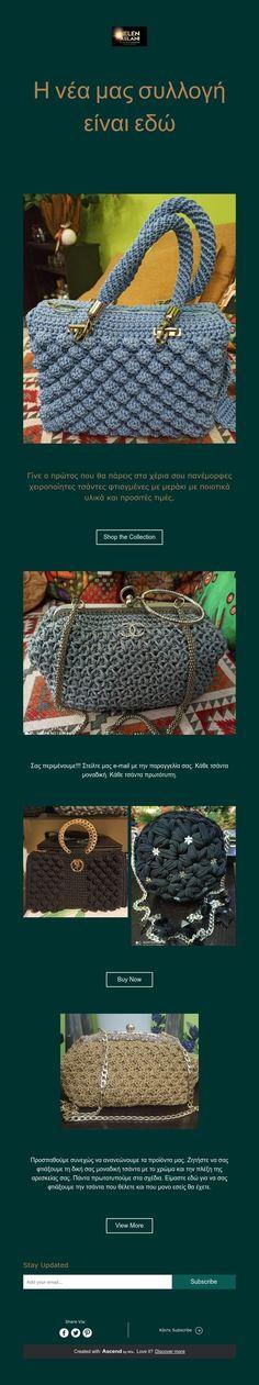 Η νέα μας συλλογή είναι εδώ Handmade Bags, Pandora, Crochet, Handmade Handbags, Ganchillo, Crocheting, Knits, Chrochet, Homemade Bags