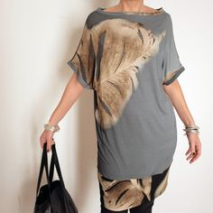 Long Top Feather T-Shirt Mini Dress Beach Cover by atelierPop