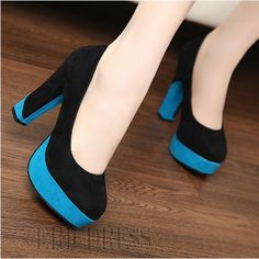 Fashion Platform Suede Upper Chunky Heels Prom/Evening Shoes Crazy Shoes, Me Too Shoes, Chunky Heel Pumps, Evening Shoes, Kinds Of Shoes, Sock Shoes, Amazing Women, Fashion Shoes, High Heels